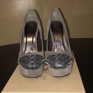Worn once, grey heels  with spikes on toes
